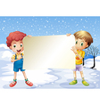 Two boys holding an empty signage vector image
