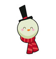 cute face snowman with hat and scarf vector image