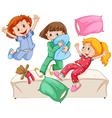 Three girls playing pillow fight at the slumber vector image