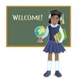 African american schoolgirl at blackboard vector image