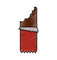 bitten chocolate bar block sugar wrapped vector image