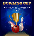 bowling club poster with realistic ball and vector image