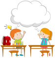 Boy and girl with thinking bubble vector image