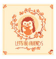 greeting card with cute hedgehog and apple vector image