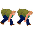 Happy cartoon man walking with heavy backpack vector image