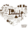 Heart shape concept of Irish symbols vector image