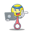 with laptop rattle toy character cartoon vector image