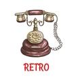 Old vintage retro phone color sketch vector image vector image