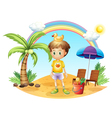 A young child with his toys near the coconut tree vector image