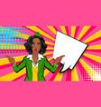 pop art comic sexy black shocked stewardess vector image