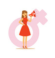woman in a red dress shouting into a megaphone vector image