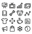 Web menu navigation line icons set - photo gallery vector image