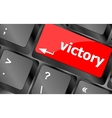 Computer keyboard with victory key vector image