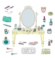 Vanity table with mirror and makeup vector image