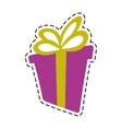 Gift box ribbon anniversary party color cut line vector image
