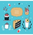Hand drawn design element set delicious food vector image