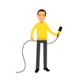 male reporter character standing with a microphone vector image