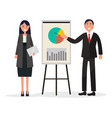 man and woman on coaching with diagram on placard vector image