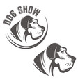 set of dog head icons isolated on white background vector image