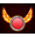 Shield with fire wings vector image