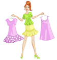 Girl choosing or showing a dress to wear vector image