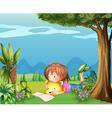 A girl with a bear reading a book vector image