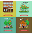 set of fireman posters in flat style vector image