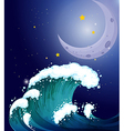 A strong wave under the moon vector image