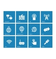 Networking icons on blue background vector image