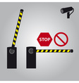 barrier with cam and signs eps10 vector image