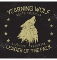 Wolf howling at the moonVintage label vector image
