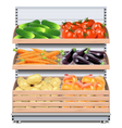 Supermarket Shelf with Vegetables vector image