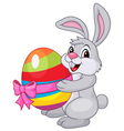 Cute rabbit cartoon holding easter egg vector image
