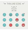 Emoji thin line icon set vector image