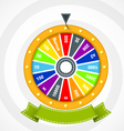 Poster with wheel of fortune with curved banner vector image