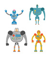 Robots Set Space invaders Cyborgs Iron colored vector image