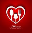 Romantic lunch menu design vector image