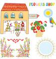 Set for flowers shop - vase bunchs frames bows vector image