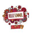 Hello Summer Hand Drawn Doodle Bright vector image