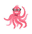 smart cartoon pink octopus character wearing vector image