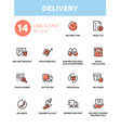 Delivery - modern single line icons set vector image