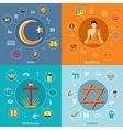 Religions flat set vector image