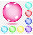 Transparent multicolored glass spheres vector image