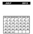 july calendar 2013 vector image