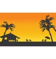 Sunset summer silhouette with hut vector image
