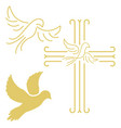 christian cross with the dove in line style vector image