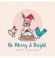 fun christmas animal cartoon holiday greeting card vector image