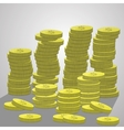 Stacks of coins a lot dollars vector image