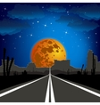 The road in the desert at night landscape vector image