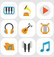 music flat icons set collection of acoustic tone vector image